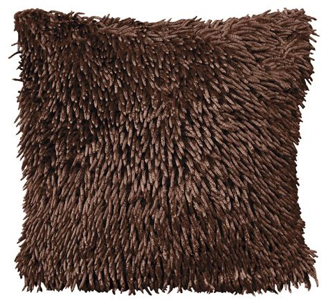 Livingroom Glasgow by Stylish Chenille Shaggy Pile Designer Cushion Dark Brown