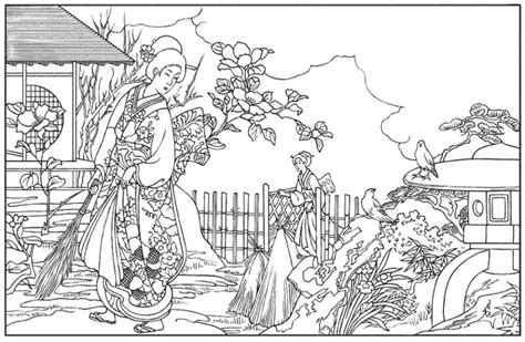 japanese art coloring pages printable pictures to pin on