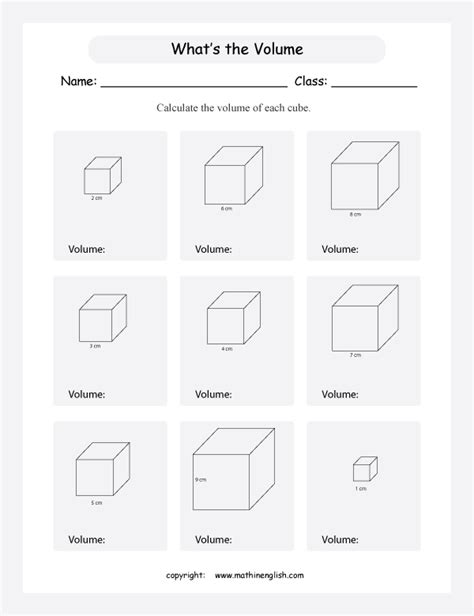 Volume Of A Cube Worksheet calculate the volume of these cubes given the length of