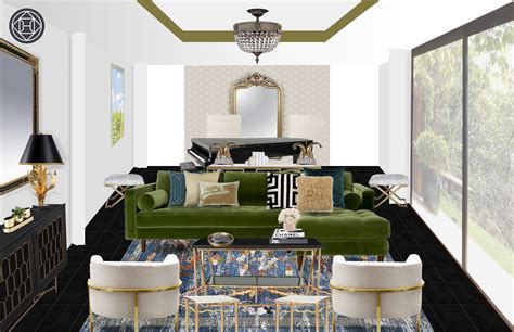classic eclectic glam living room design  havenly