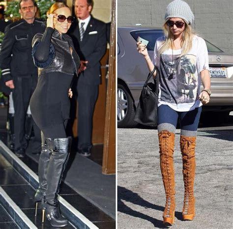 mariah boot madonna katie price and mariah carey opt for panto boots