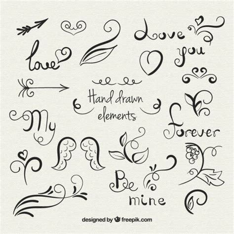 hand drawn design elements vector hand drawn love elements vector free download