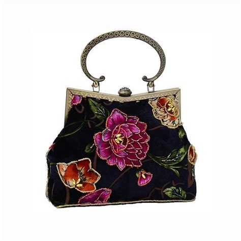 vintage style navy beaded flower velvet evening bag