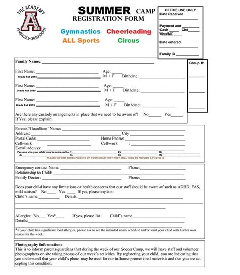 summer c registration form template c registration form