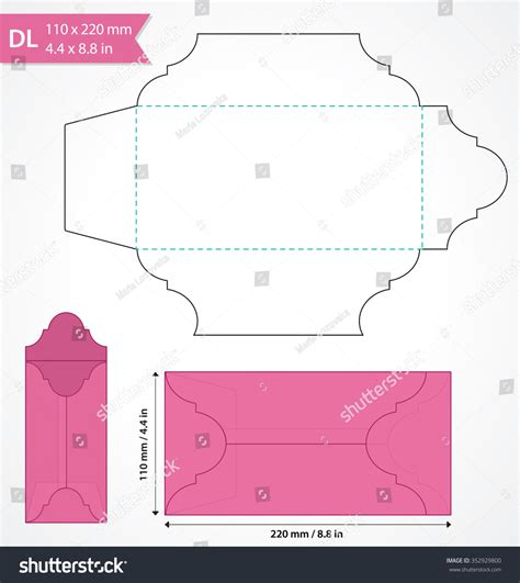 Die Cut Vector Envelope Template Standard Stock Vector 352929800 Shutterstock Template Size