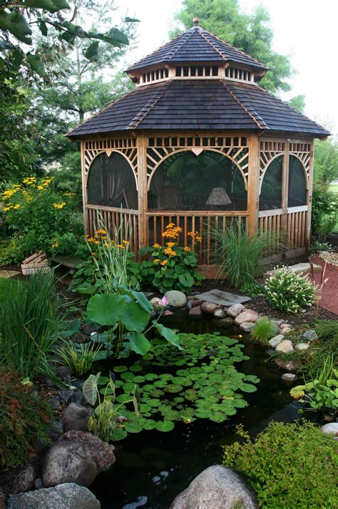 gazebo in garden aquascape your landscape gazebos and water gardens a