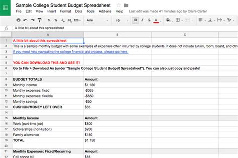 Budgeting Basics For College Students Plus Exle Spreadsheet Collegexpress College Student Budget Template