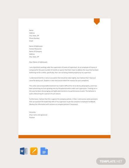 letter complaint supervisor samples templates