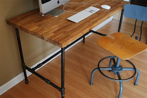 Industrial Desk With Oak Top And Steel Pipe Legs Diy Metal Desk