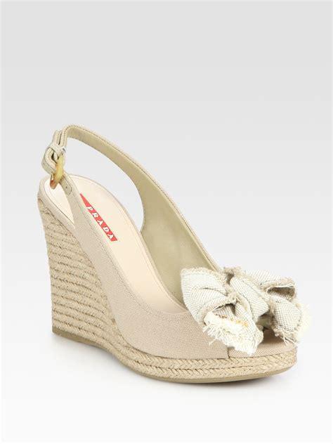 prada canvas slingback espadrille wedge sandals in beige