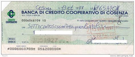 di cosenza credito cooperativo nazionale lavoro assegno bancario delce net