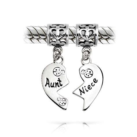 Aunt and Niece 925 Silver Heart Dangle Charm Pandora