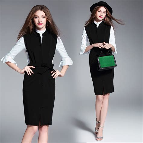 2017 new dresses vintage fashion business attire dress casual two pieces