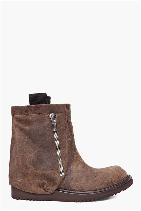 boots with pockets rick owens brown leather pocket boots in brown for lyst