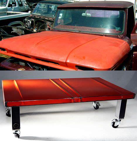 car coffee table car hoods reborn as artful coffee tables treehugger