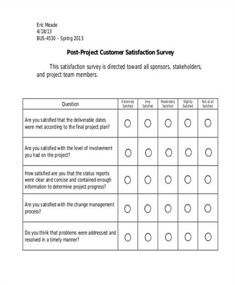 project feedback form template sle customer satisfaction survey customer satisfaction