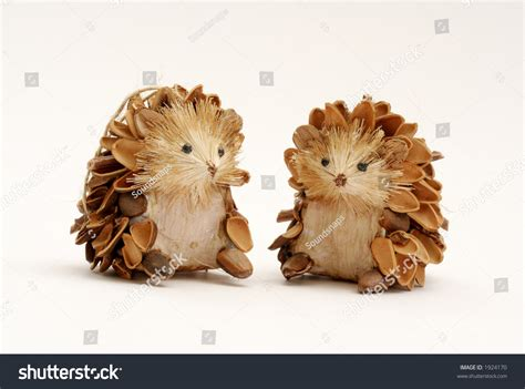 decorative hedgehogs from pine cones stock photo 1924170