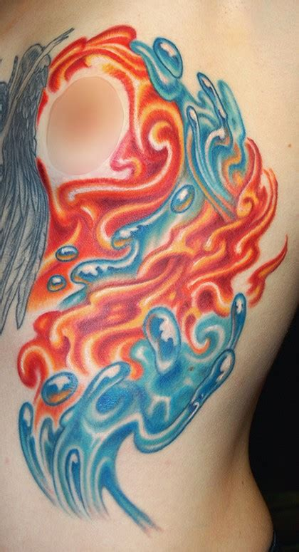 fire and water tattoo by marvin silva tattoos nature custom and