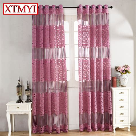 Pink Kitchen Curtains Modern Luxury Window Curtains For Bedroom Living Room Kitchen Pink Brown Hollow Out Curtains