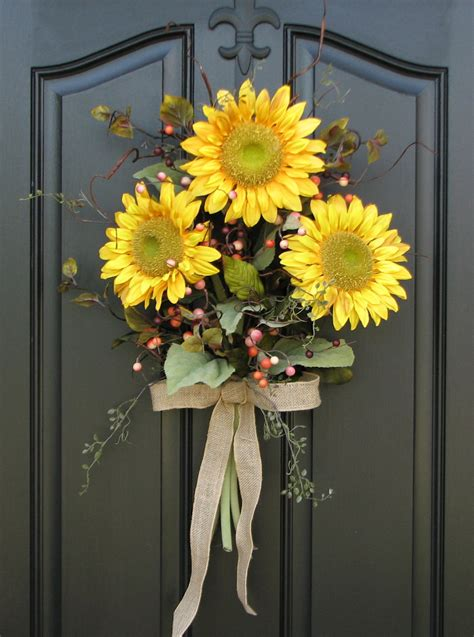 Sunflower Bouquet Front Door Decor Summer Wreath Front Door Hanging Decorations