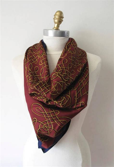 hermes vintage maroon and gold silk scarf for sale at 1stdibs
