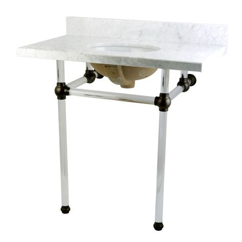 oil rubbed bronze table kingston brass washstand 36 in console table in carrara