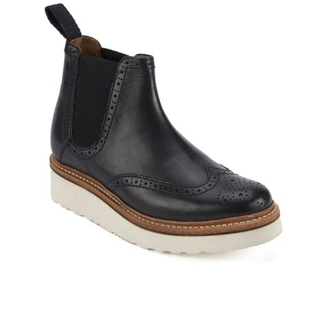 grenson s brogue leather chelsea boots black
