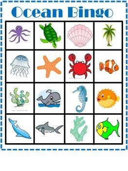 printable ocean games free printable ocean or beach theme bingo game ideias