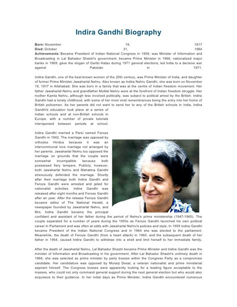 what is biography in english indira gandhi biography