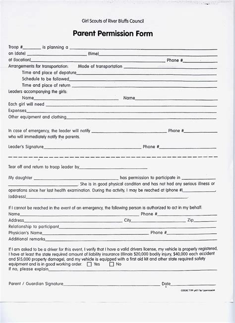 scout permission slip template scout troop 132