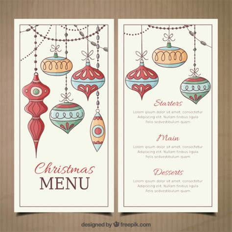 christmas menu template with hand drawn baubles vector