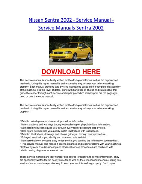 car service manuals pdf 1996 nissan sentra head up display nissan sentra 2002 service manual service manuals sentra 2002 by nissancarrepair issuu