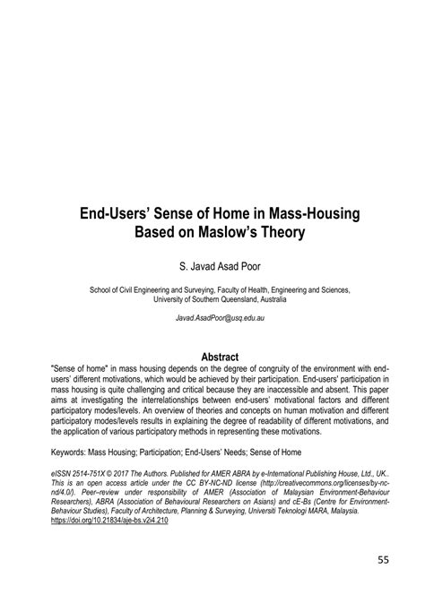 (PDF) End-Users' Sense of Home in Mass-Housing Based on