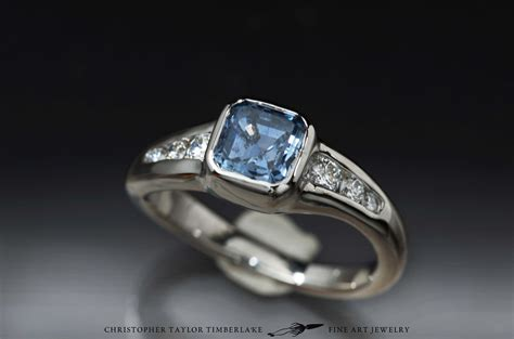 14k palladium white gold engagement ring with custom