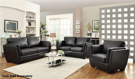 Black Sofa And Loveseat Set by Coaster Lois 503684 503685 Black Leather Sofa And Loveseat