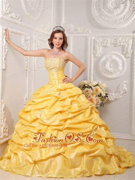 quinceanera themes yellow brand new yellow quinceanera dress strapless court train