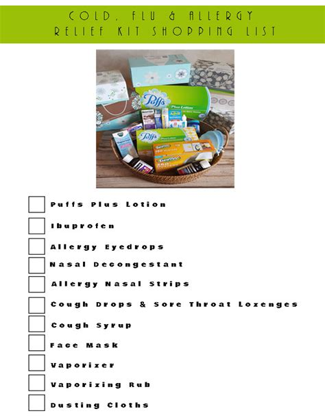 Cold Flu Allergy Relief Kit With Puffs Printable Sam S Club Shopping List Template