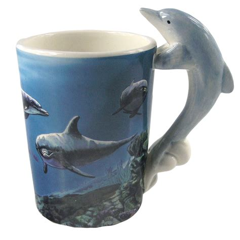 animal shaped mugs shaped handle mug dolphin 7580 purple parrot gifts