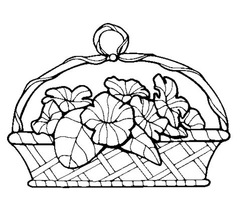 coloring pages basket of flowers basket of flowers 5 coloring page coloringcrew