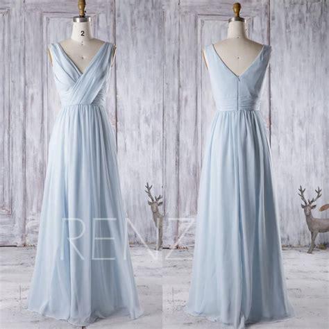 light blue chiffon dress 2016 light blue chiffon bridesmaid dress v neck wedding
