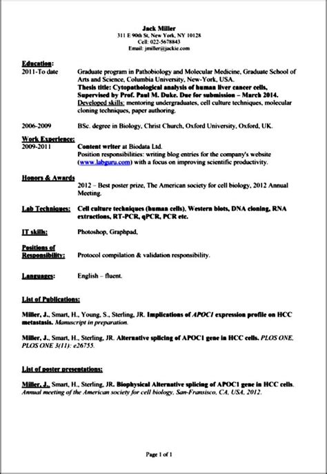 Academic Resume by Professional Academic Resume Free Sles Exles