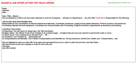 appointment letter format of driver truck driver offer letter sle format