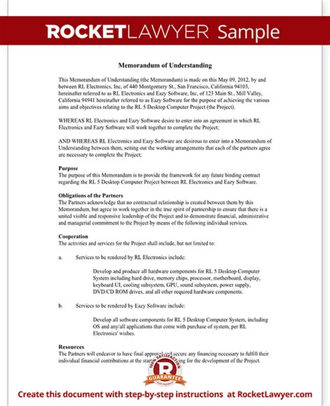 Memorandum of Understanding Form   MoU Template (with Sample)