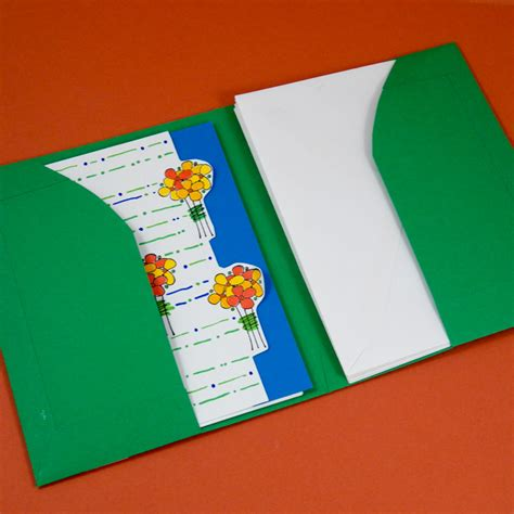 How To Make Paper Folders With Pockets - tutorial for a greeting card pocket folder