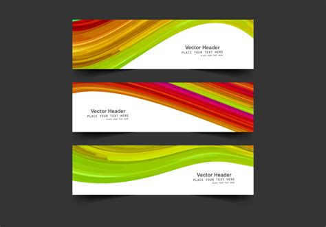 header design sle headers with colorful waves download free vector art