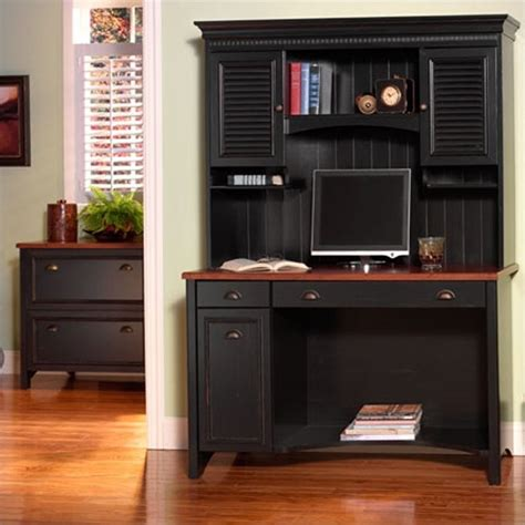 Cabinet Computer Desk Bush Stanford Collection Hutch In Antique Black With Hansen Cherry Finish 3572