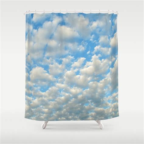 cloud curtains popcorn clouds shower curtain cloud bathroom ocean blue