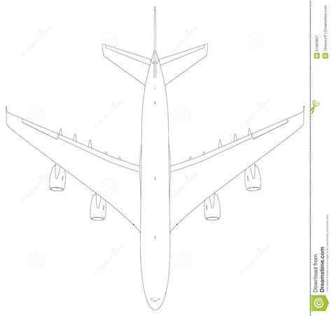 layout vector rendering wire frame airplane top view vector illustration vector