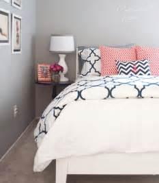 Aqua Duvet Set Navy Coral Bedroom Centsational