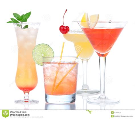 four cocktail drinks yellow margarita cherry and tropical